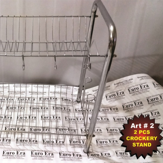 2 TIER CHROME PLATE DISH CUTLERY CUP DRAINER RACK