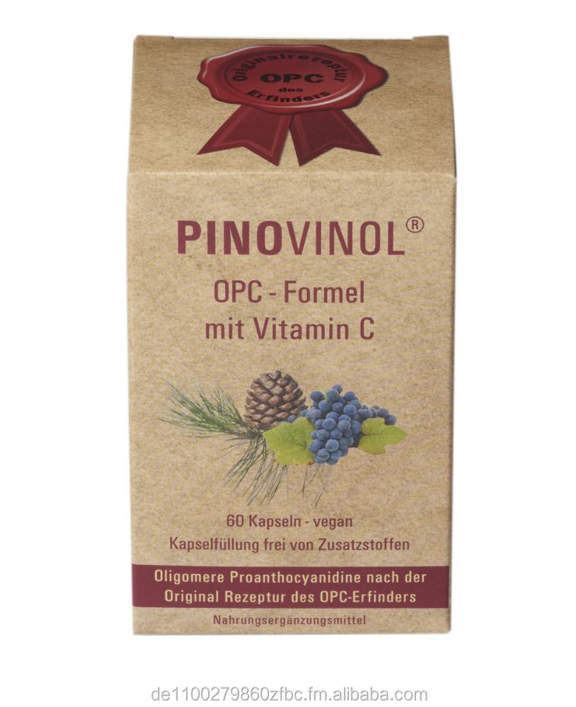 Grape seed + Pine bark | PINOVINOL OPC Formula with Vitamin C, 60 Capsules | Test winner on OPC-DOC.COM | Made in Germany