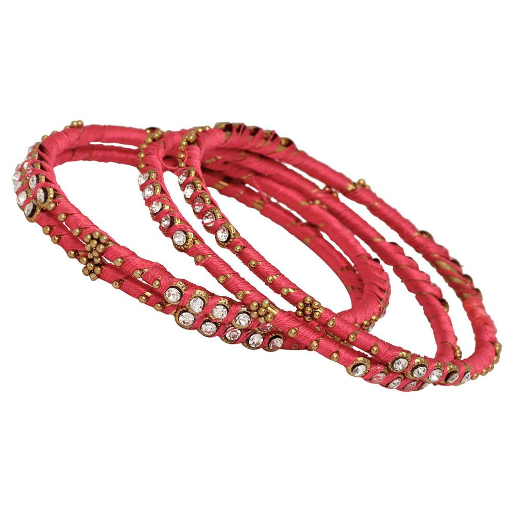 Jaipur Mart Gold Plated Light Rani Color Glass Stone Bangles Set PLKB292-2.8