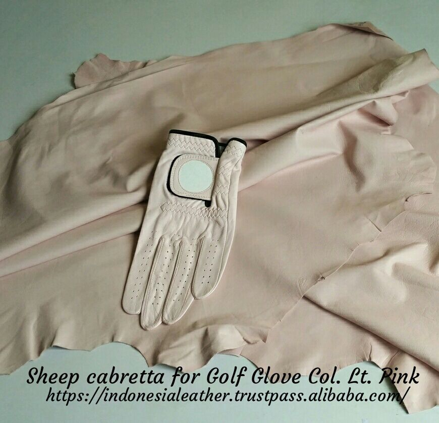 GENUINE FINISHED LEATHER SHEEP CABRETTA FOR GOLF GLOVE COLOR PINK