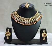 Best Selling Indian Jaipur Style Kundan Meena String Necklace Maang Tikka Set Red Green Gold Plated Wedding Bridal Party Jewelry