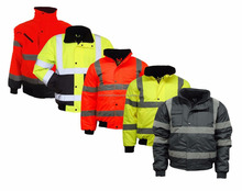 New Arrival Custom Mens Workwear Hi Viz Vis Bomber Padded Visibility Yellow 3m Reflective Security Safety Jacket for Work