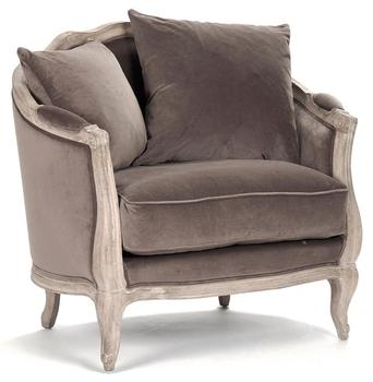 French Country Chocolate Velvet Feather Chair not wishlisted