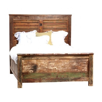 Reclaimed Grid Design Wood Bed With Headboard