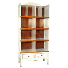 Antique Style White Wood Bookcase Living Home Furniture