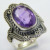 Natural purple amethyst size 8 US 925 sterling silver ring