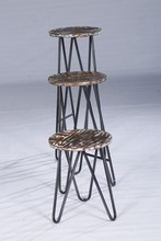 High Three Metal Legs Antique Furniture Small Size Wood Bar Stool