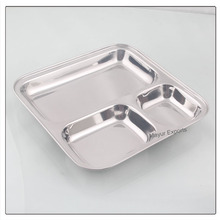 Stainless Steel Divider Dinner Plate - 3 in 1 Square