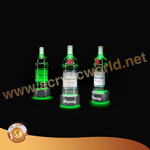 desktop led acrylic liquor wine display stand 3 bottles