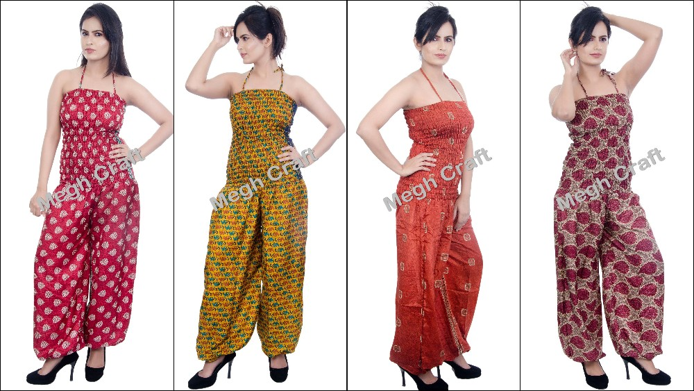Women-Floral-Waist-Harem Style-Pants-Jumpsuit-Casual-jumpsuit -Silk Jumpsuits