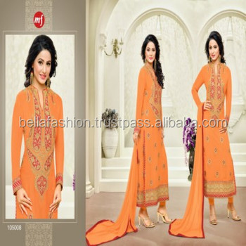 Indian and Pakistani Woman Wear Special Looking Embroidery Designer Straight Suits