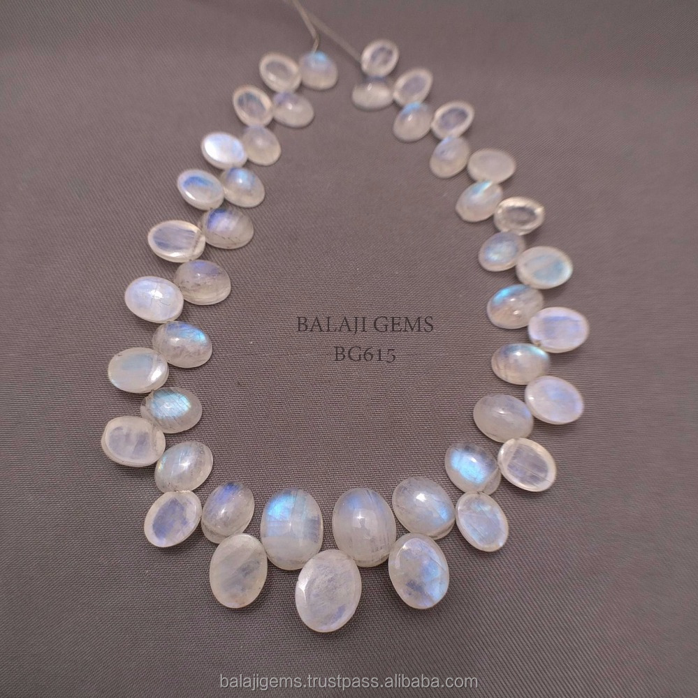 Faceted Oval Cabochon Rainbow Moonstone Beads Loose Faceted Gemstones