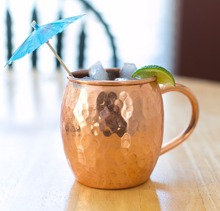 Black Antique Hammered Moscow Mule Copper Mug With Solid Twisted Brass handle