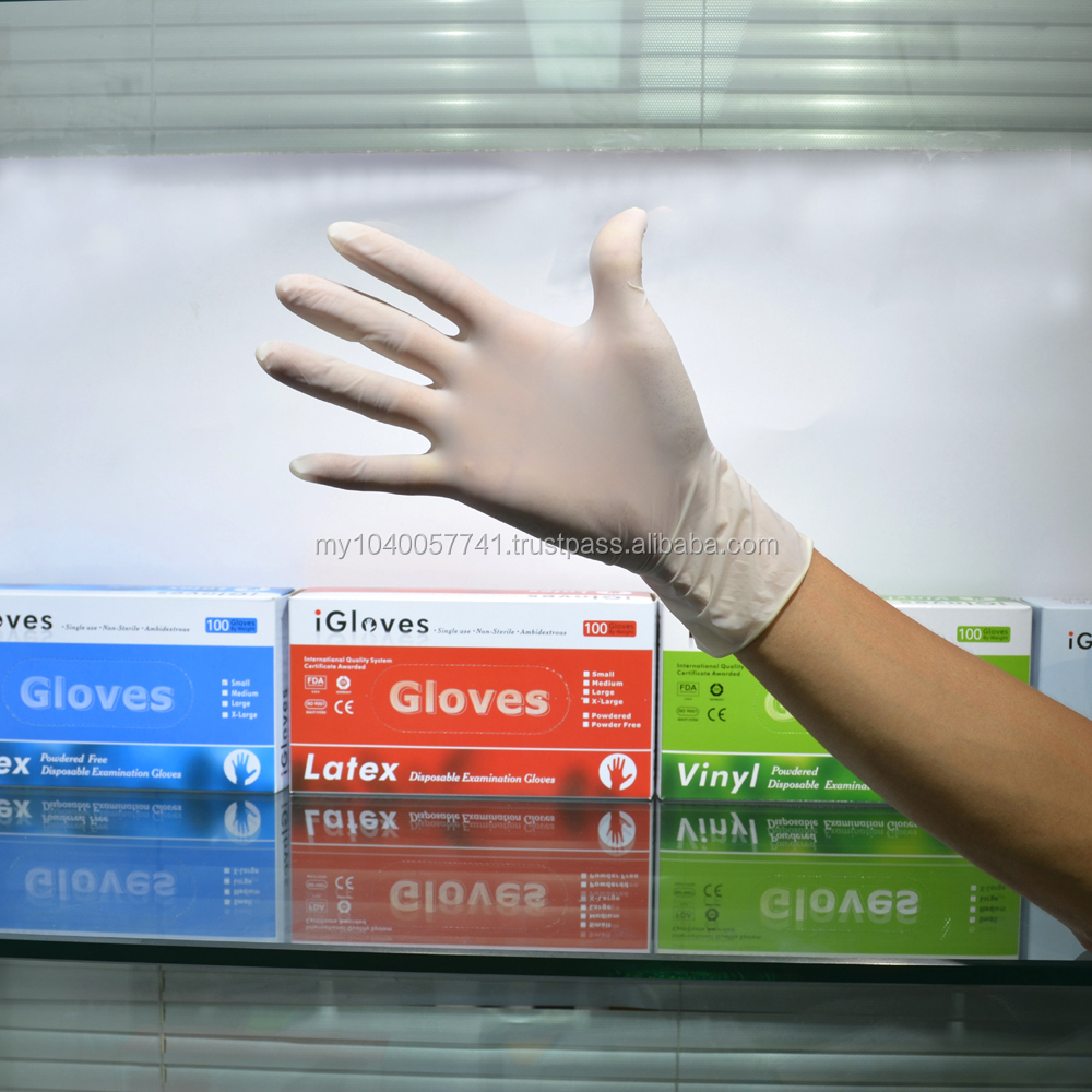 Disposable latex gloves powder free for laboratory