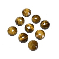 10mm Natural Tiger Eye Rose Cut Round Cabochons Loose Gemstones