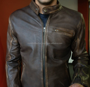 Leather Jacket in Distressed Dark Brown Color Vintage Fit Cafe Racer- Mens 100% Real Leather