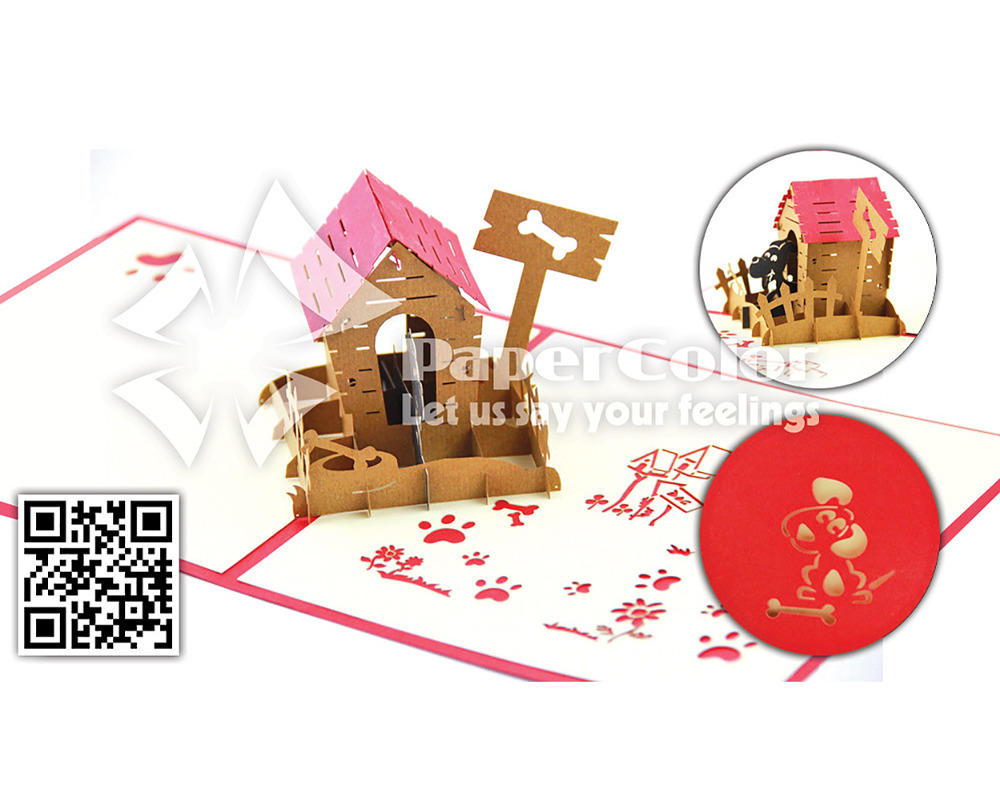 Cute dog 3D Pop up card, Pop up greeting card