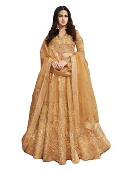 Wedding Party Wear Tissue Stof Anarkali Stijl Lehenga Pakken Voor 2019 (Semi-Gestikt)