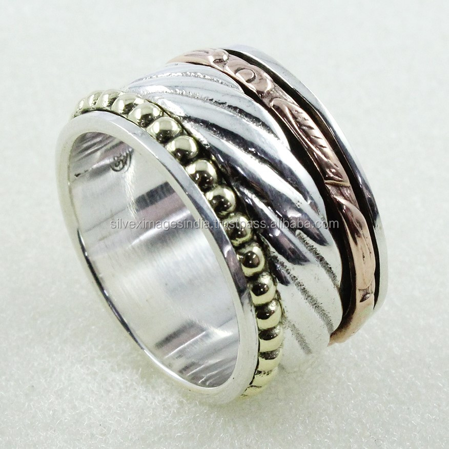 Rolling Beauty Three Tone Tension Remover Spinning Ring 92.5 Sterling Silver Jewellery Wholesaler