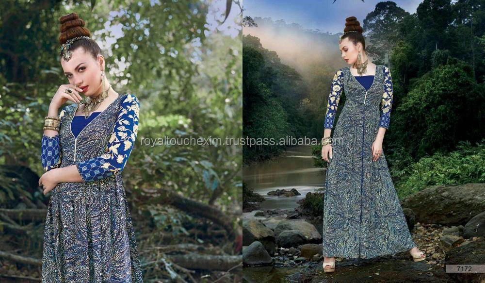 Digital Print With Embroidery dressing indian ladies gown designs
