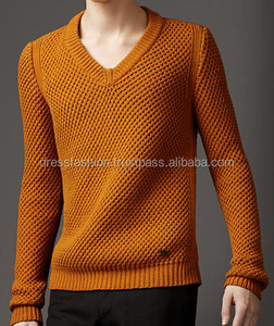 Long Sleeve Sweater 100% Cotton Knit 9GG Men's Fashionable