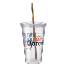 550 ml 18 oz double wall PVC logo insert plastic cup with lid and straw