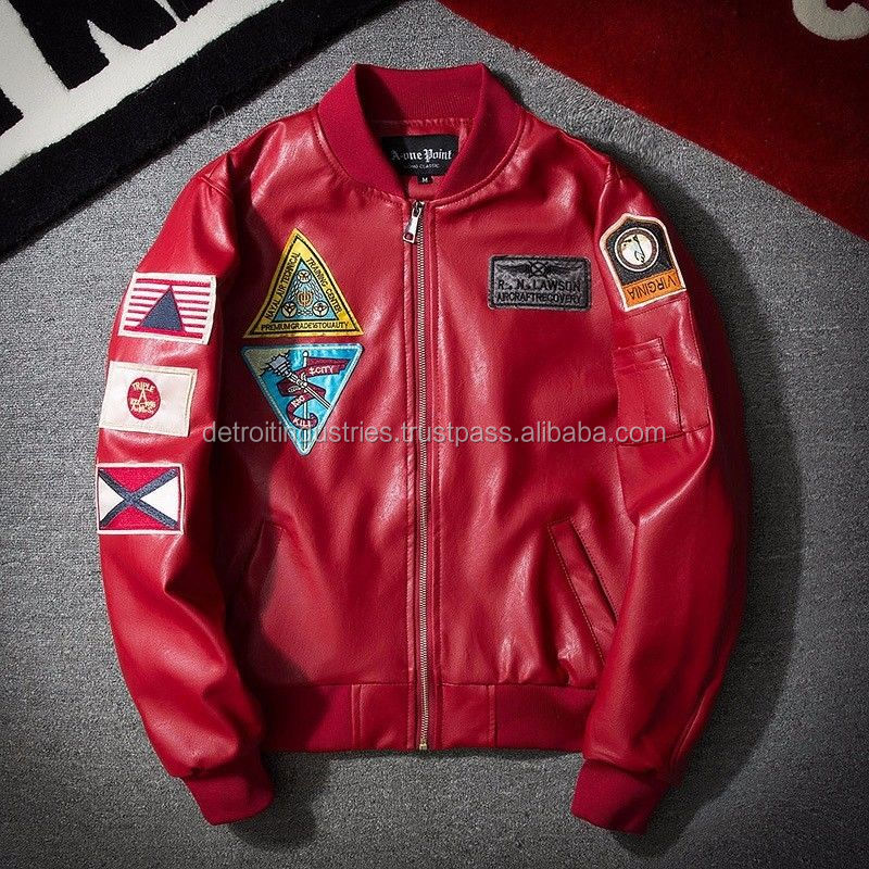 Red PU Leather Bomber Jackets with Customized Embroidered Patches