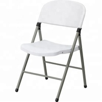 Blow Molded Plastic Folding Chair In White