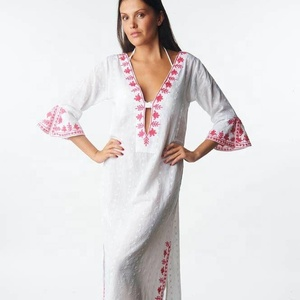 Clothing Plus Size 3/4 Bell Sleeves High V-Neck Embroidery Long Beach Wear Maxi Dress