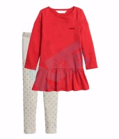 Knitted Girls Clothing Set Jersey elsa Dress in Frock Style With Printed Legging for Christmas New year and Holidays