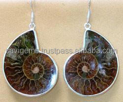 925 STERLING SILVER AMMONITE EARRING