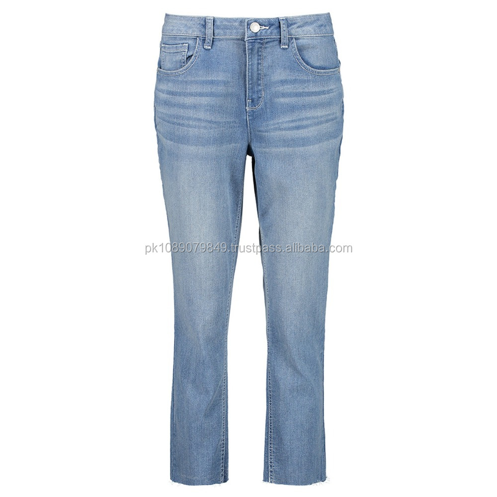 High quality denim blue washed jeans pants for women