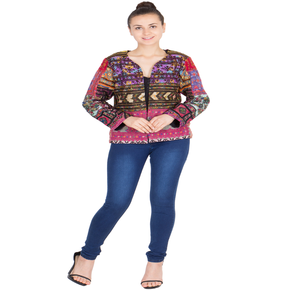 Banjara Ethnic Traditional Hand Made Embroidery Multicolored Cotton Gypsy Tote Jacket/Waistcoat