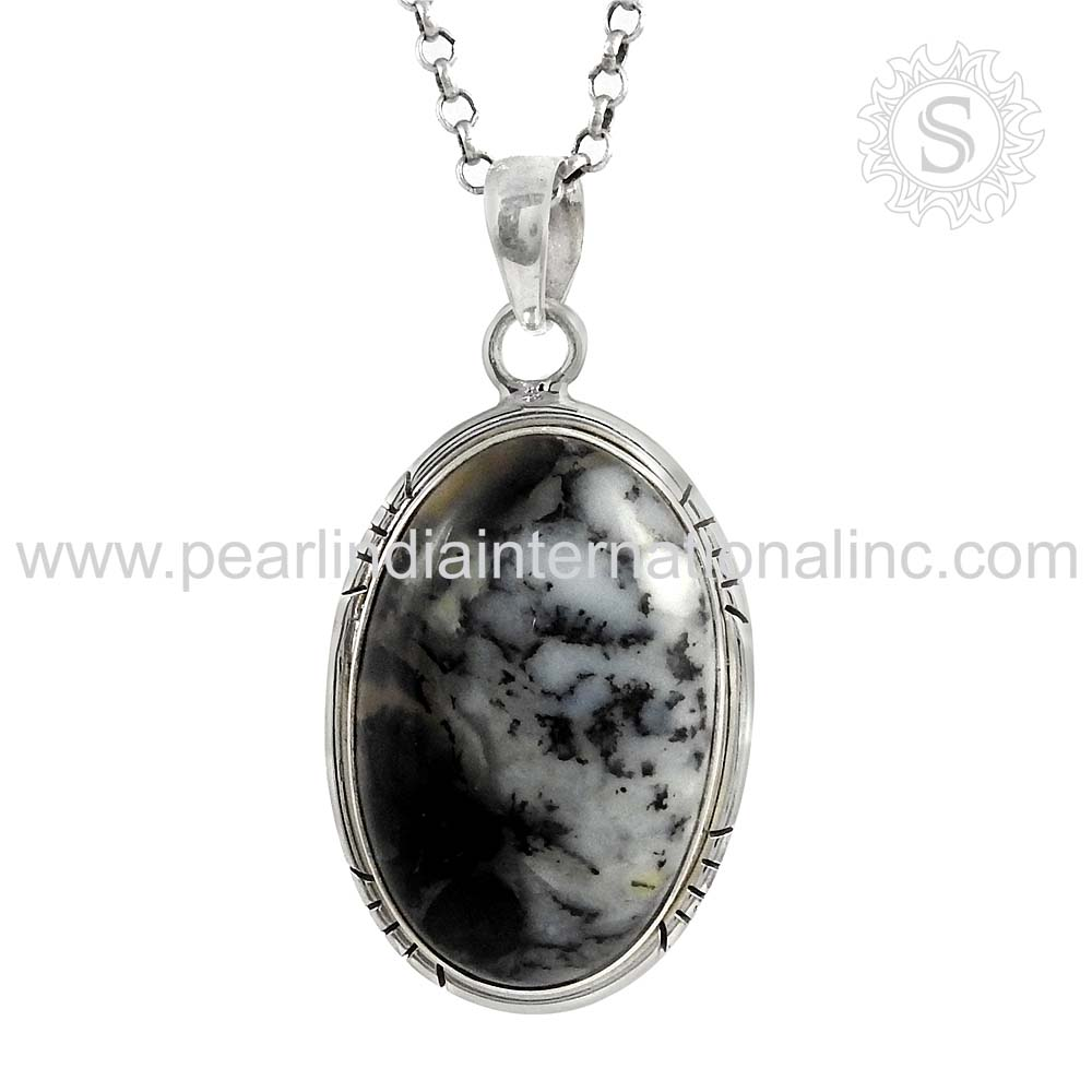 Dendritic opal gemstone silver pendant offering 925 sterling silver pendant jewelry at silvermantra.com