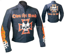 brando leather motorbike jacket, leather jacket with printed skull