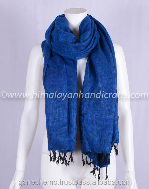 Blueberry Blue Tibetan Yak Wool Shawl HYWSM 534