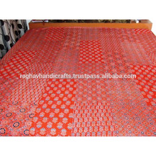 Beautiful Indian Red Ajrak Print Kantha Quilt Indian Floral Throw Kantha Quilt Indian Bedspread Wholesale