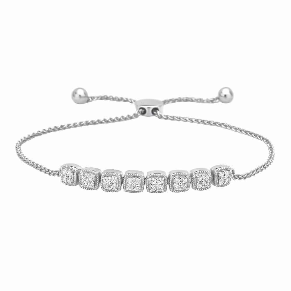Diamond Square shape Tennis-Style Adjustable Link Bolo Bracelet in 10K Gold (0.52 cttw) . Also available in 9K, 14K and 18K Gol