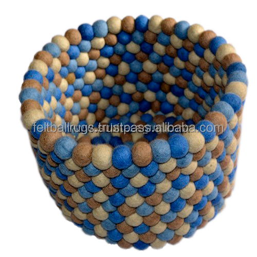 Blue and Brown Felt Ball Basket, Bread Basket Handmade in Nepal