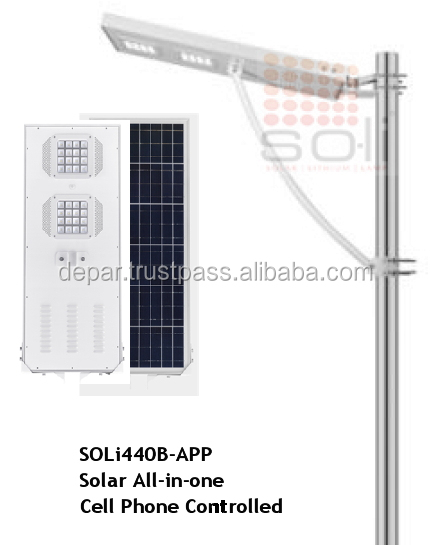 50W All-in-one integrated solar light with cell phone application, bluetooth control & smart phone/tablet interface