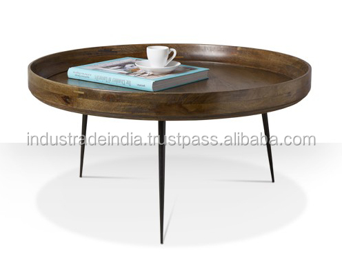 Industrial Wooden Hair Pin Leg Cocktail Table