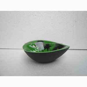 Heart shaped green bamboo lacquer bowl, painted lacquer bowl from vietnam