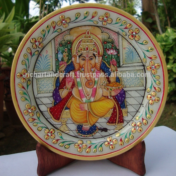Indian Marble Thali Plate Handicraft Gift Decor Rich Art And Craft Gallery Hindu God Puja Ganesha Miniature Painting
