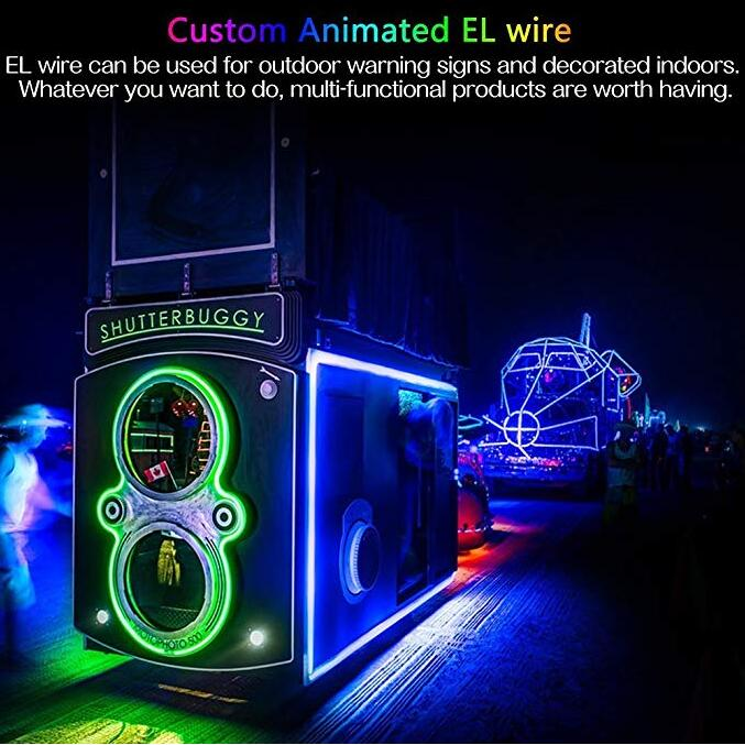 China Party Strip Rope 5M/3M Battery Operated Luminescent button 3V inverter Neon LED Lights Glow EL Wire with batteries