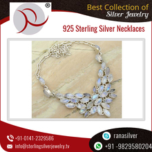 114.40ctw Rainbow Moon Gemstone Marquise Shape Handmade Silver Necklace Jewelry