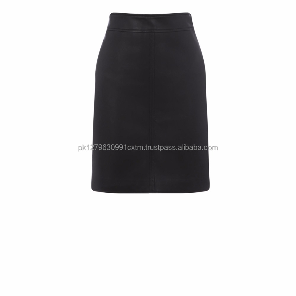 Latest Skirt Design Pictures Black Faux Leather Custom A-lLine High Quality Brand New skirt
