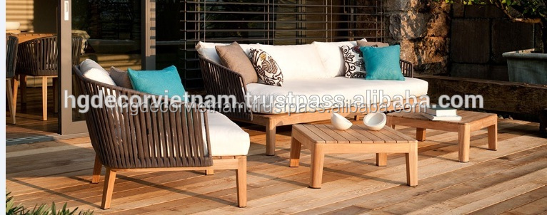 Nice design poly rattan sofa set with aluminum and teak wood frame, outdoor furniture from Viet Nam, SGS tested