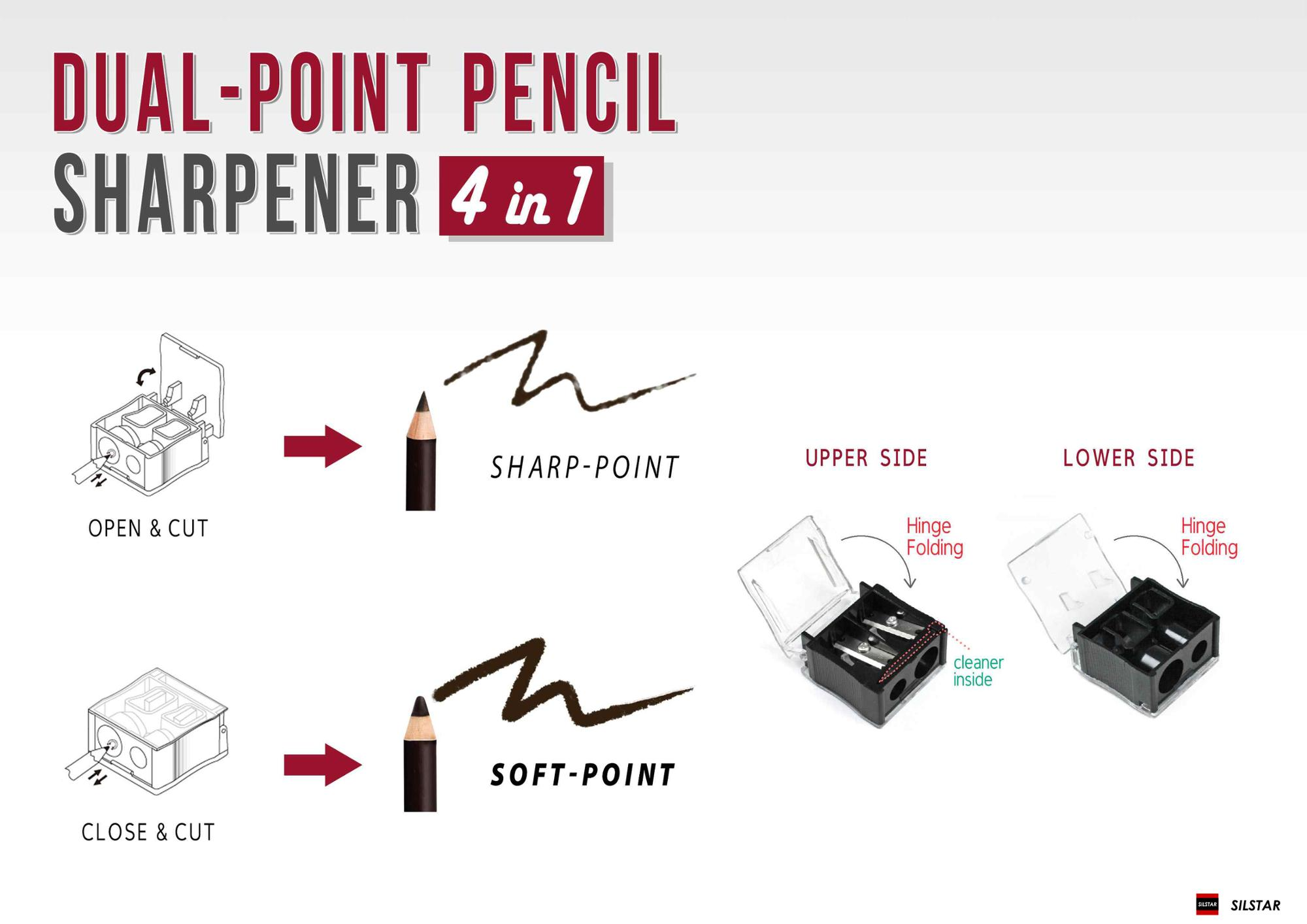SILSTAR_Dual-point Cosmetic Pencil Sharpener 4 in 1