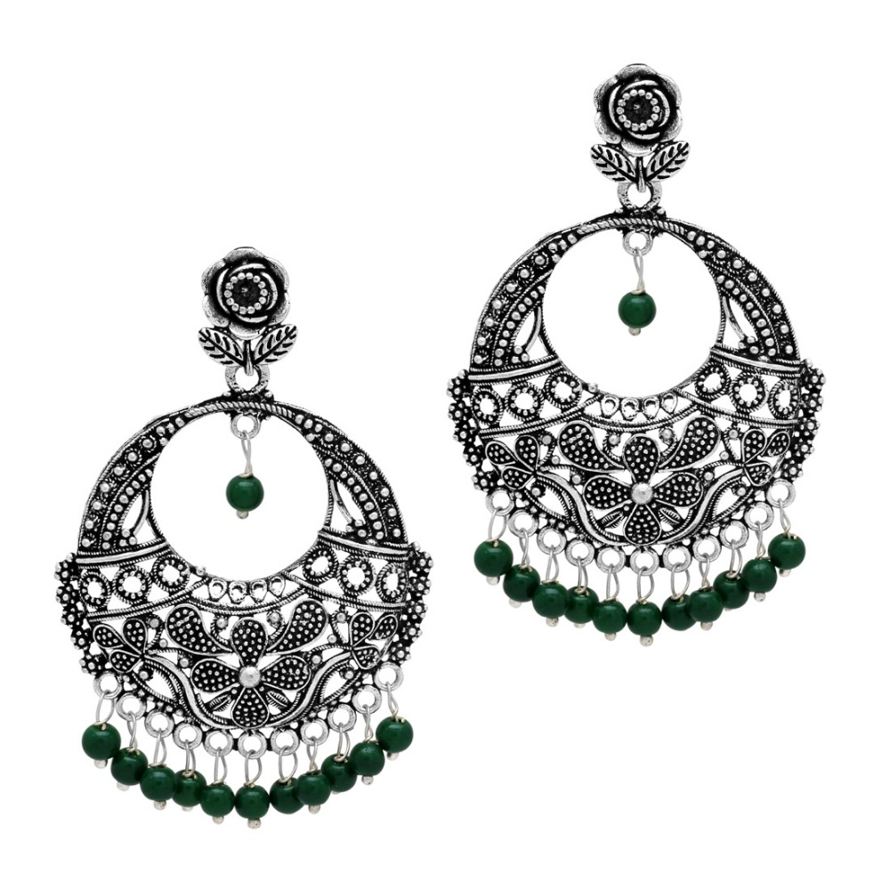 Oxidised Silver Plated Green Color Beads Traditional Earrings
