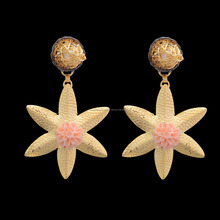 Hammered Gold Plated With Pearl Gemstone Unique Star Design Women Stud Earrings